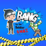 Boy cartoon swat shooting drills Stock Images
