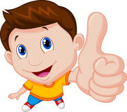Boy cartoon with thumb up Stock Photos