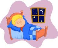 The boy cartoon was asleep in bed Royalty Free Stock Photo