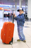 Boy with case stock image