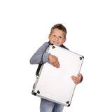 Boy with case in hands. Teenage boy embraces a metallic attache case smiling isolated on white background stock photos