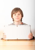 Boy with case for money Stock Photo