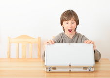 Boy with case for money Stock Photos