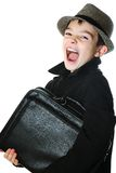 Boy with a case Stock Photo