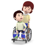 A boy with a cast sitting on a wheelchair and a mother serving ,3D illustration. Boy sitting on a blue seated wheelchair. 3D illustration Stock Image