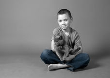 Boy and cat. Portrait of a cute boy with a cat Royalty Free Stock Photos
