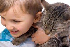 Boy with cat Stock Photos