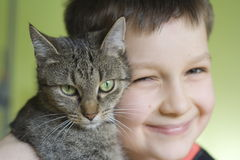 Boy with cat Royalty Free Stock Photo