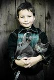 Boy with Cat. A five years old boy with his cat Royalty Free Stock Images