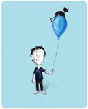 Boy with cat on baloon. A boy presenting his magical cat sitting on a baloon Royalty Free Stock Images