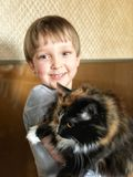 Boy and cat. Boy is smiling Royalty Free Stock Photo