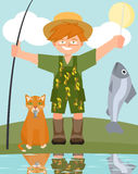 Boy and cat with caught fish vector cartoon Stock Image