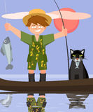 Boy and cat fishing from the boat vector cartoon. Boy and cat fishing from the boat - funny vector cartoon illustration Stock Photo
