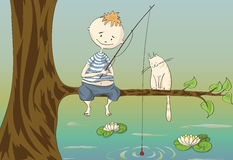 Boy and cat on fishing Stock Image