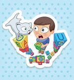 Boy and cat. Happy childhood of kids. Funny stickers royalty free stock images