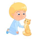 Boy and cat Royalty Free Stock Images