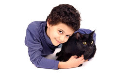 Boy with cat Stock Images