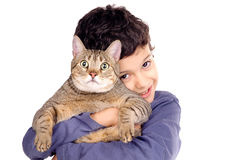 Boy with cat Stock Photography