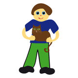 Boy with cat on white background Royalty Free Stock Photos