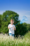 Boy with catch net Royalty Free Stock Photos