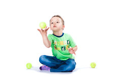 Boy catches the ball Stock Images