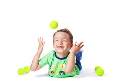 Boy catches the ball Royalty Free Stock Photos