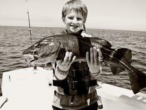 boy catches fish стоковые фото