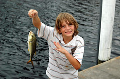 Boy catches fish. A boy on the dock holding the fish he caught stock photo