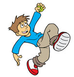 Boy catching a ball. Cartoon illustration of boy jumping to catch a ball Stock Photography