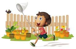 Boy catching butterflies. Illustrtion of a boy catching butterflies on white Royalty Free Stock Images