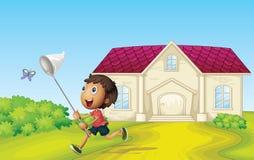 Boy catching butterflies. Illustrtion of a boy catching butterflies infront of house Stock Image