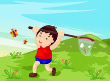 Boy catching butterflies. Illustration of young boy catching butterflies Royalty Free Stock Image