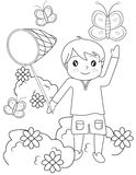 Boy catching butterflies coloring page. Useful as coloring book for kids Stock Images