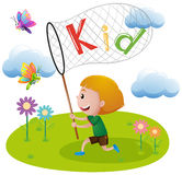 Boy catching butterfly in garden. Illustration Stock Images