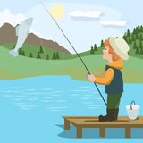 Boy catching fish with rod. Colorful vector cartoon illustration royalty free illustration
