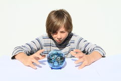 Boy catching saving pig full of money Stock Photography
