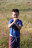 Boy with caterpillar Royalty Free Stock Images