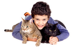 Boy with cats Royalty Free Stock Images