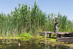 Boy caught fish on bait Stock Image