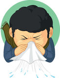 Boy Caught Flu and Sneezing. A vector image of a boy sneezing because he caught flu. Drawn in cartoon style, this vector is very good for design that need ilness Stock Images