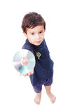 Boy with cd. A little boy is holding cd in his hand Royalty Free Stock Images