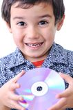 Boy and cd dvd Royalty Free Stock Images