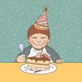 Boy celebrating birthday with cake Royalty Free Stock Photo