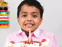 Boy celebrating birthday party Stock Images