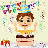 Boy celebrating his birthday smiling Royalty Free Stock Photography