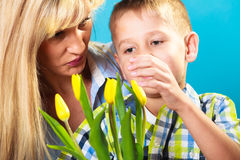 Boy celebrating mother's day Royalty Free Stock Photo