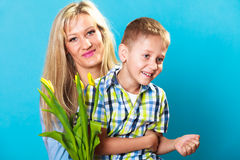 Boy celebrating mother's day Stock Photo