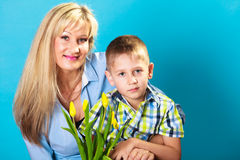 Boy celebrating mother's day Stock Photography