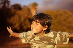 Boy celebrating at sunset Stock Photography