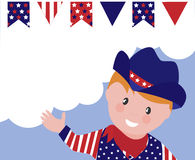 Boy celebrating 4th July. Boy celebration 4th July in cawboy costume. Copy space for your message Royalty Free Stock Photo